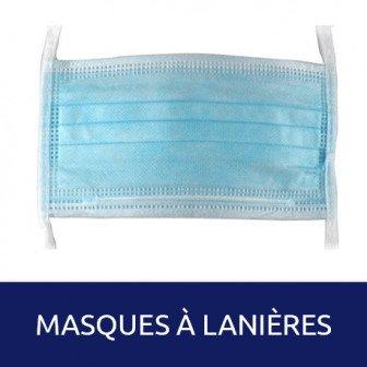 Masque de chirurgie à lanières 50u Medistock