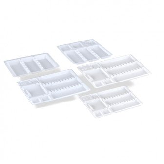 Plateaux jetables Blanc - Compartimentés / Medistock