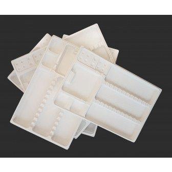 Plateaux PLA biodégradables compartimentés / carton de 200 - Medistock